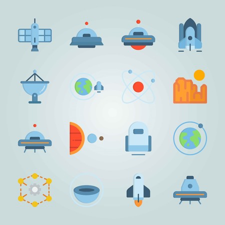 Icon set about Universe. with sun system, circles and planet earth