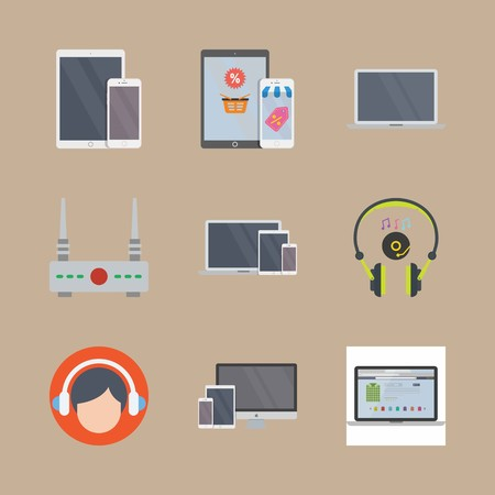Icon set about devices with headphones, devices and laptop
