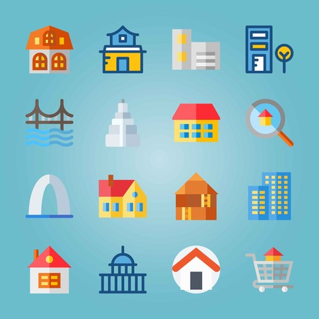 Icon set about Construction. with entrance, loupe and home Banque d'images - 95509529
