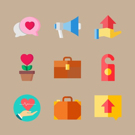 Icon set about wedding with cardiogram, doorknob and chat Ilustrace