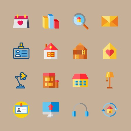 Icon set about digital marketing with calendar, mail and loupe Illustration