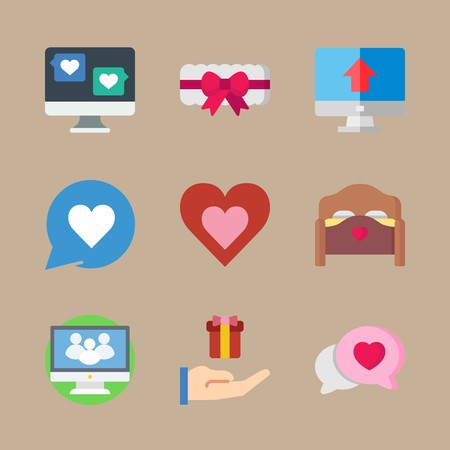 icon set about romance lifestyle with computer, heart and social website