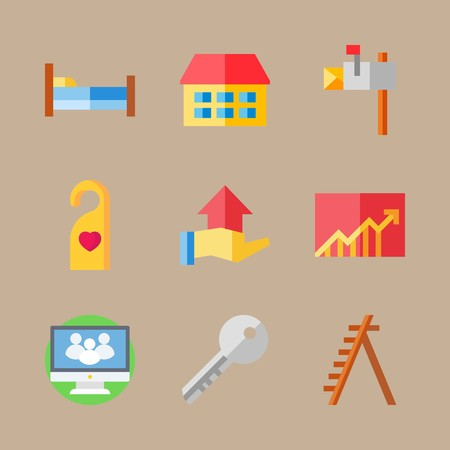 Icon set about real assets with bed, letter box and ladder