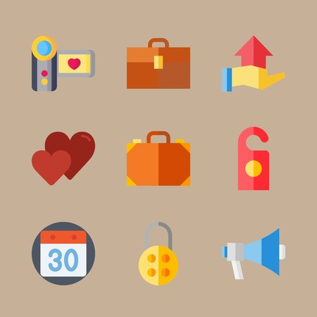 icon set about wedding with calendar, camera and direction