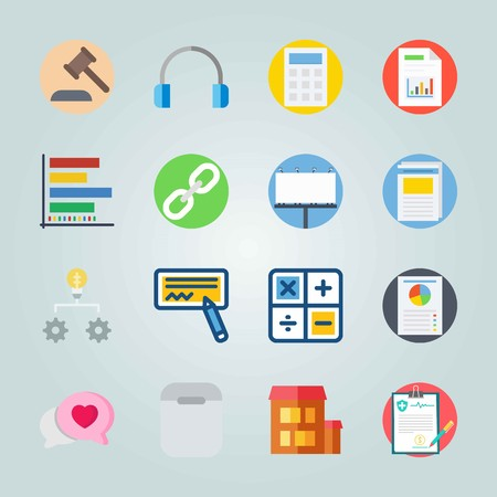 Icon set about Digital Marketing. with headphones, diagram and poster Illustration