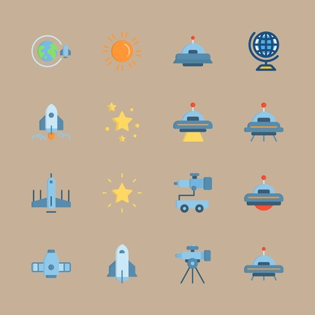 icon set about universe with planet earth, craft and orbit