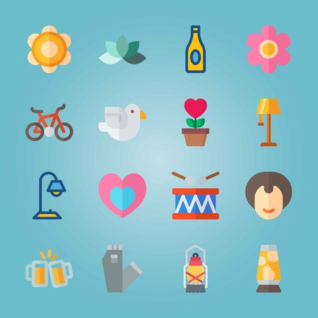 Icon set about Hippies. with light, bicycle and desk lamp Illustration