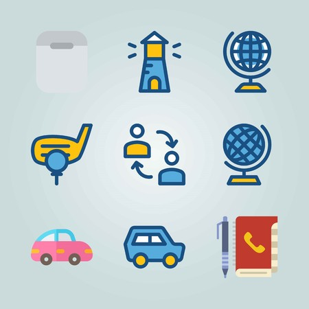 Icon set about Travel. with agenda, globe and car Zdjęcie Seryjne - 95467668