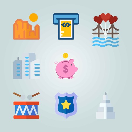 Icon set about United States. with building, badge and sun Illustration