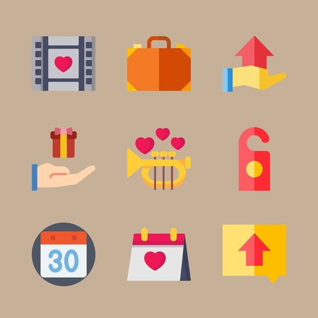 icon set about wedding with calendar, direction and gift