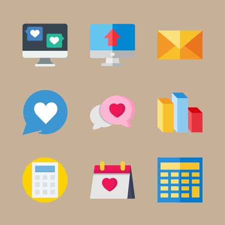 icon set about marketing with columns, chat and computer Banque d'images - 95588127