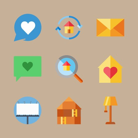 icon set about digital marketing with billboard, letter and mail Vettoriali