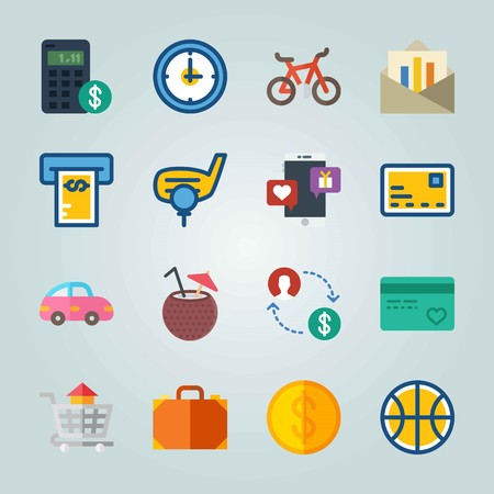 Icon set about Travel. with exchange, chat and house Vettoriali