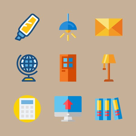 Icon set about education and school with door, letter and lamp
