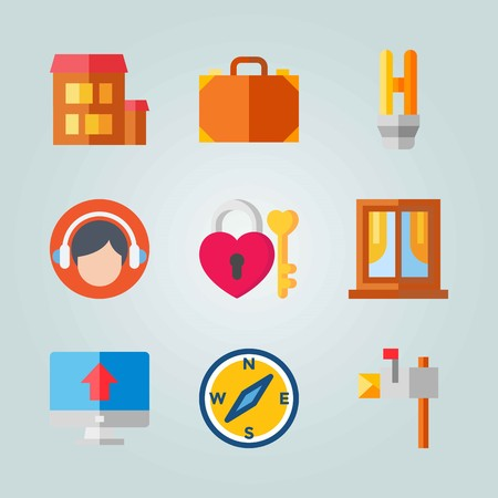 Icon set about Real Assets. with compass, house and padlock Illustration