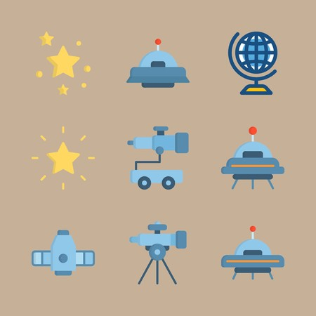 icon set about universe with craft, star and earth