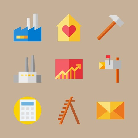 Icon set about real assets with line chart, mallet and calculator