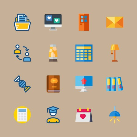 Icon set about education and school with calendar, letter and mail Çizim