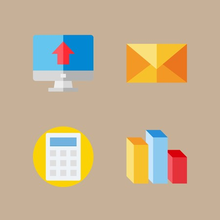 icon set about marketing with columns, chart and calculator Vettoriali