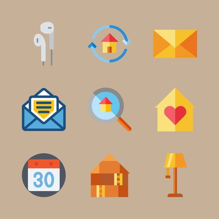 icon set about digital marketing with earphones, mail and calendar Vettoriali
