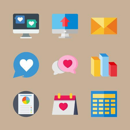 Icon set about marketing with page, calculator and letter