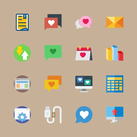 Icon set about marketing with chat, settings and directions Vettoriali
