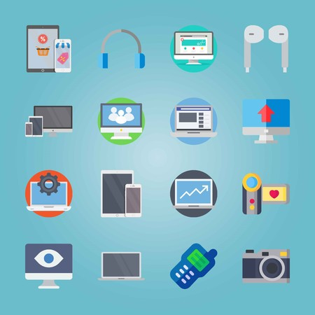 Icon set about Devices. with earphones, eye and medicine 免版税图像 - 95636080