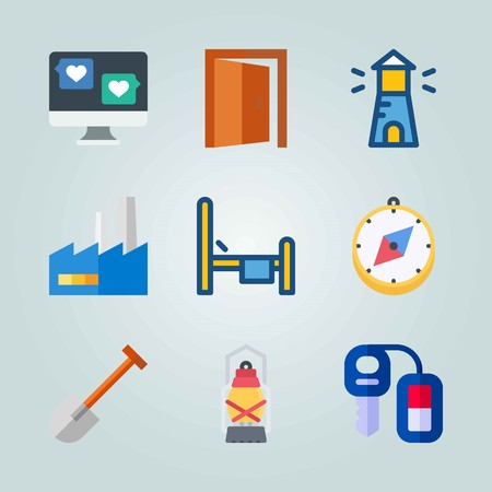 Icon set about Real Assets. with lighthouse, key and computer