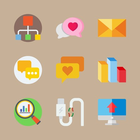 icon set about marketing with loupe, letter and distribution