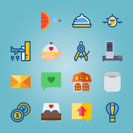 icon set about Travel with smart phone, hot air balloon, direction, airport and dish