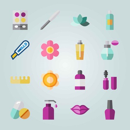 Icon set about Beauty. with moisturizer, cologne and flower Ilustrace