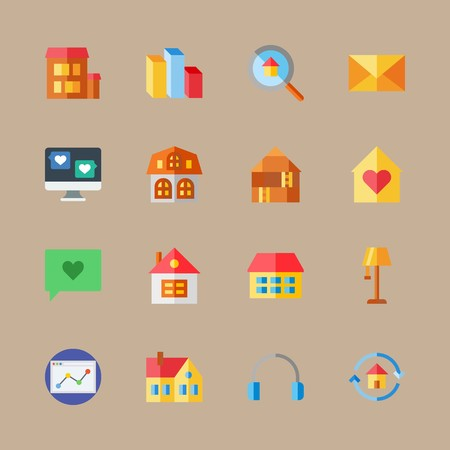 icon set about digital marketing with computer, loupe and page