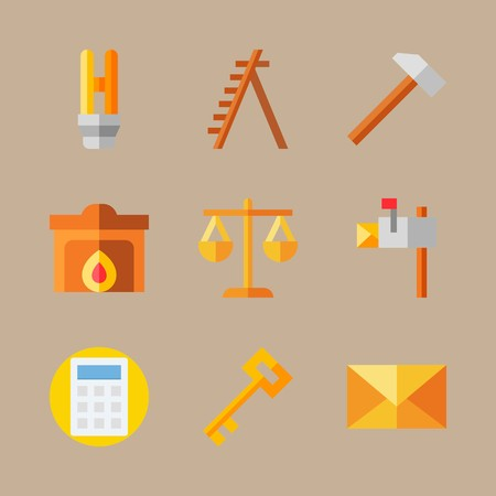 Icon set about real assets with scales, ladder and mallet