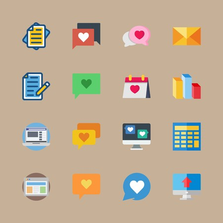 icon set about marketing with wedding day, page and portal