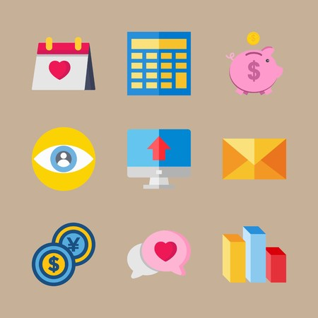 icon set about marketing with piggy bank, computer and calculator