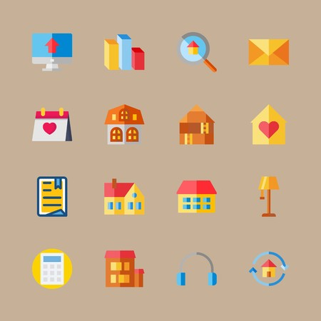 icon set about digital marketing with mail, lamp and file