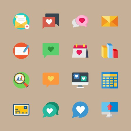 Icon set about marketing with computer, email and chat Vettoriali