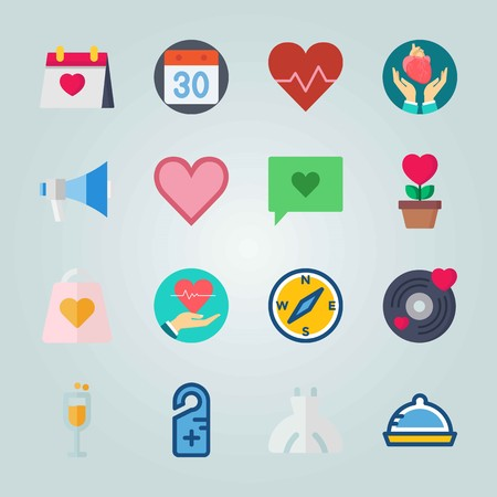 Icon set about Wedding. with heart, cardiology and dish
