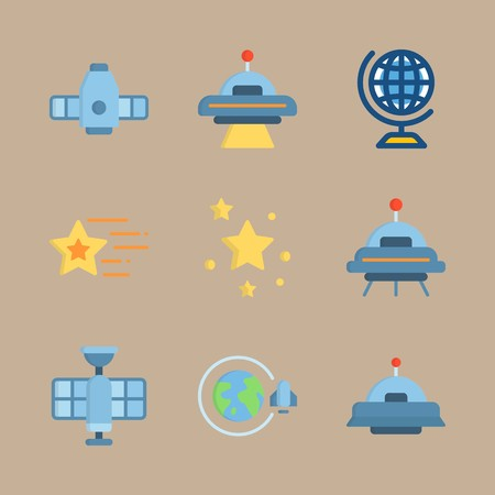 icon set about universe with craft, orbit and star Vettoriali