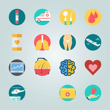 Icon set about Medical. with blood, blood drops and organ 免版税图像 - 95636082