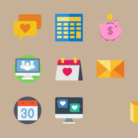 icon set about marketing with calculator, coin and piggy bank