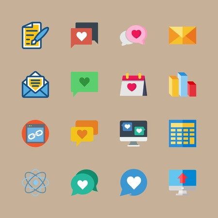 icon set about marketing with list , web and pen