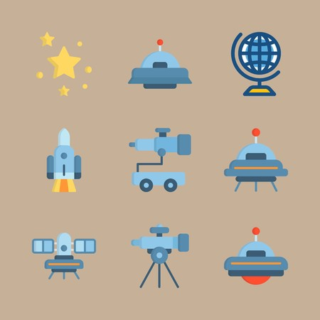 icon set about universe with alien, telescope car and satellite
