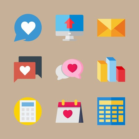 icon set about marketing with computer, columns and mail