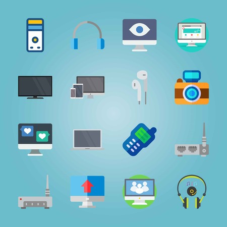 Icon set about Devices. with laptop, walkie-talkie and eye