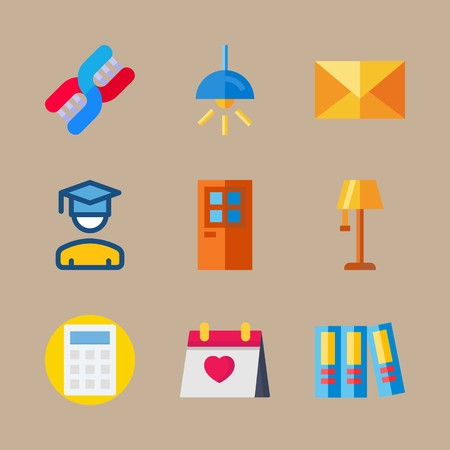 icon set about education and school with calendar, DNA and wedding day 矢量图像