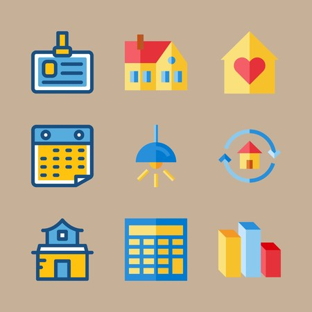 Icon set about digital marketing with lamp, chart and id card