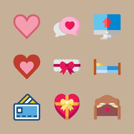 icon set about romance lifestyle with heart, computer and chat 矢量图像