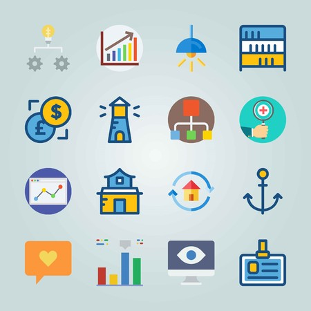 Icon set about Digital Marketing. with distribution, chat and settings Vettoriali