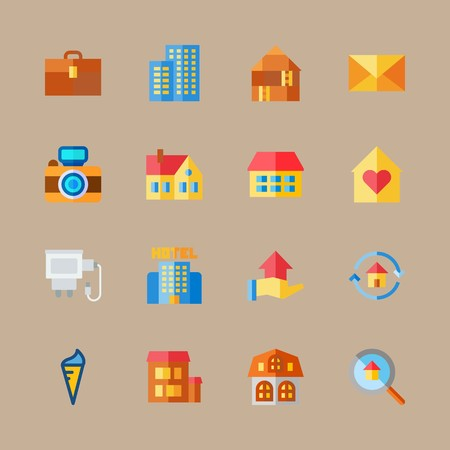icon set about travel with loupe, camera and house 矢量图像